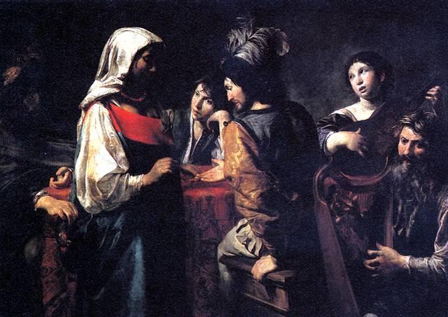 Валантен де Булонь Женщина, гадающая на руке солдату