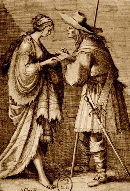 Гадалка. Французская гравюра XVII века
