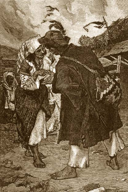 Гадалка в Австрийской деревне. Гравюра XIX века.