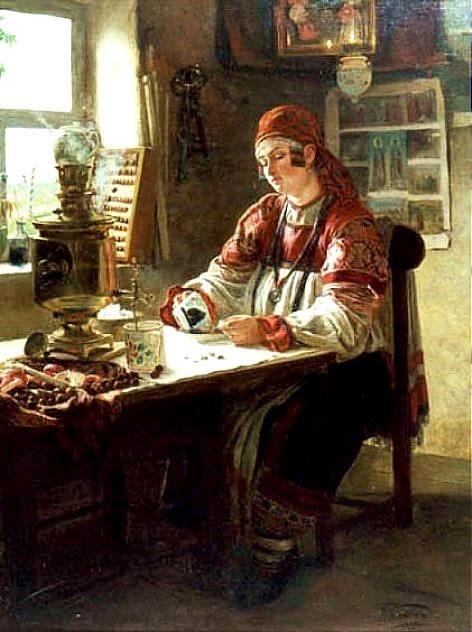 Painted by Mikhail Petrovich Clodt von Jürgensburg,1835–1914. At the tea.