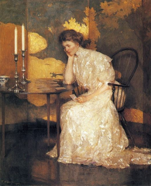 Frank W. Benson  Girl playing Solitaire