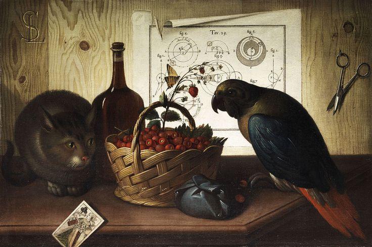 Sebastiano Lazzari - Stillleben mit Katze und Papagei