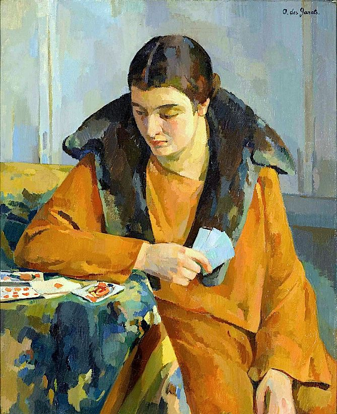 Odette des Garets (French, b.1891)  The game of solitaire.