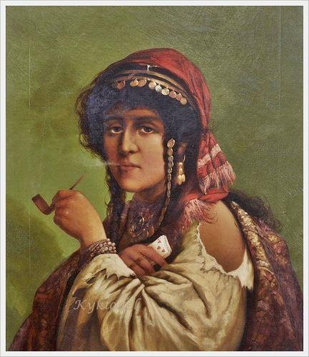 Joe Schmied «A gypsy woman smoking a pipe»