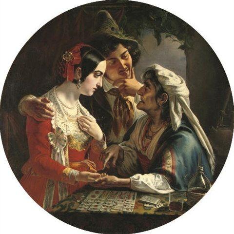 The Fortune Teller (1841) by Russian artist Mikhail Ivanovich Skotti